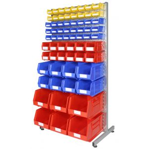Louvre Rack with Bins - (Single Sided - Kit A)