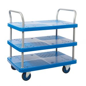 Proplaz® Blue 3 Shelf Trolley