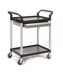 2 Shelf Trolleys with Lockable Steel Drawer