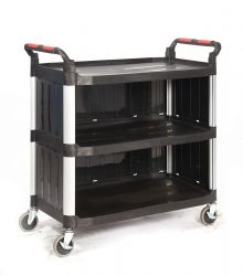 3 Shelf Trolleys with Plastic Sides