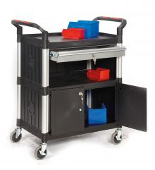 3 Shelf Trolleys with Lockable Steel Drawer & Cupboard